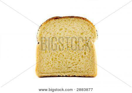 A Single Slice Of Toast Isolated On White Background