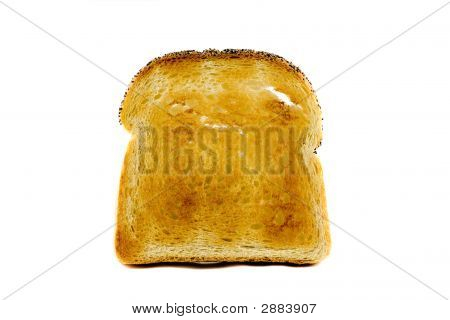 A Singel Slice Of Toasted Bread Isolated On White Background