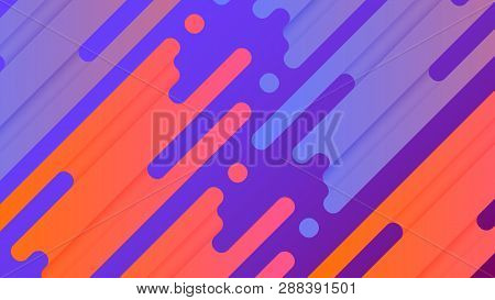 poster of Abstract line vector background illustration. Colorful vibrant splash lines are placed on purple gradient background. Light blue and orange elements. EPS10 vector.