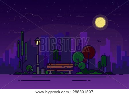 Night Summer Park With A Bench And A Glowing Lamp Against The Background Of The City. Various Trees