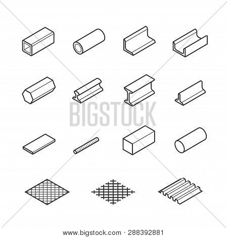 Metallurgy products vector icon set in thin line style poster