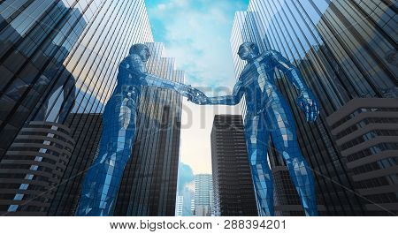 merger and acquisition business concept, join company robot handshake , 3d rendering poster