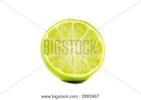 Sliced Lime Fruit Isolated On White Background