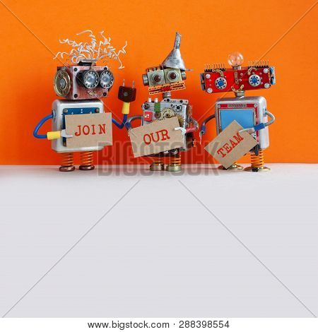 Robotic Hiring Recruitment Concept. Three Funny Robots Looking For A New Assistant In Company. Hr Cy