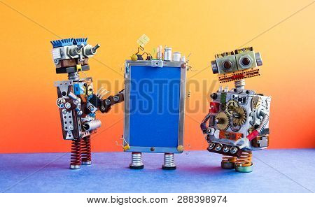 Mobile Smartphone Gadget And Robots. Funny Robotic Toy Characters, Creative Design Touch Screen Phon