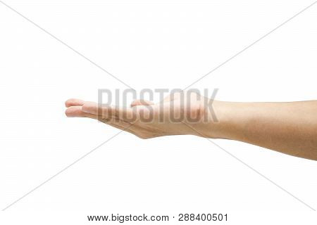 Closeup Empty Open Male Hand Use For Array Goods Of Advertisement. Isolated On White Background With