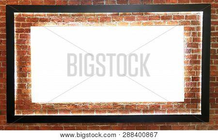 Empty White Board On Orange Brick Wall Background.  - Image