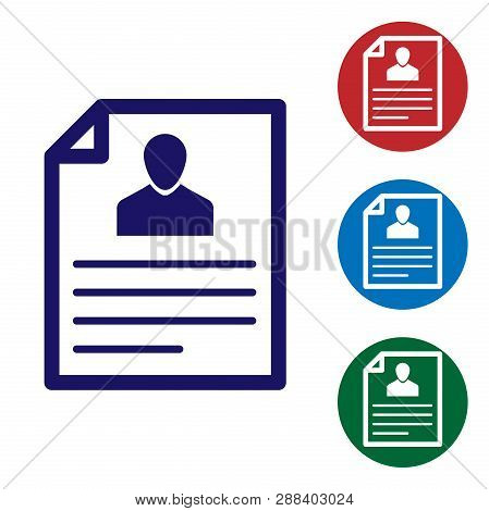 Blue Resume Icon Isolated On White Background. Cv Application. Searching Professional Staff. Analyzi