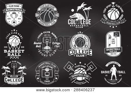 Set Of Basketball College Club Badge On The Chalkboard. Vector. Concept For Shirt, Print, Stamp Or T