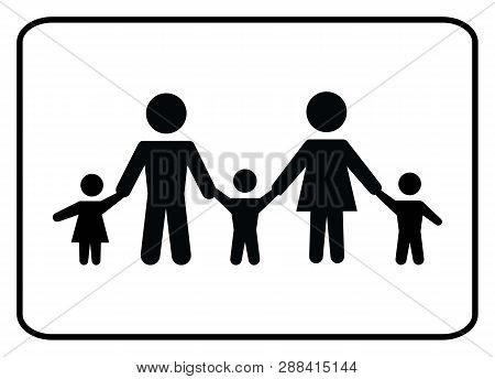 Family Icon.family Icon On White Background Drawing By Illustration.there Are Five Family Members In
