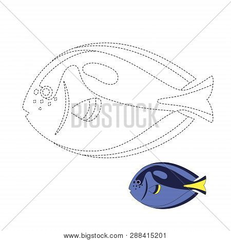 Simple Educational Game For Kids. Vector Illustration Of Fish For Coloring Book