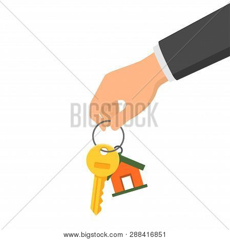Hand Holding A Key And A Fob. Concept Of Buying Or Renting A New House Or Apartment. Vector Illustra