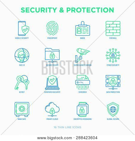 Security And Protection Thin Line Icons Set: Mobile Security, Fingerprint, Badge, Firewall, Face Id,