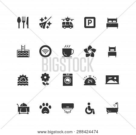 Hotel Facilities And Services Vector Icon Set In Glyph Style
