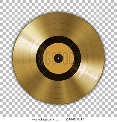 Gramophone Golden Vinyl Lp Record Template Isolated On Checkered Background. Vector Illustration