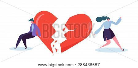 Broken Heart People Lover Concept. Sad Young Man And Woman Character Suspect Partner Jealousy. Crisi