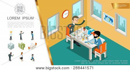 Isometric Business Colorful Composition With Managers Working In Office Money Stacks Table Chairs Sa