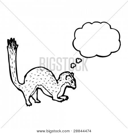 jumping stoat illustration with thought bubble