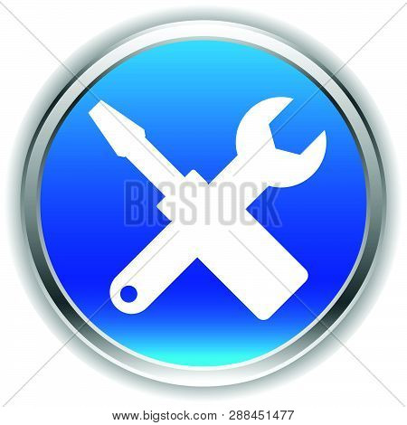Crossed Screwdriver, Wrench Icon. Repair, Maintance, Assembly Concept Icon