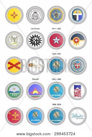 Set Of Vector Icons. Flags And Seals Of New Mexico And Oklahoma States, Usa. 3d Illustration.