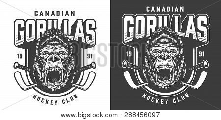 Vintage monochrome hockey club emblem with ferocious gorilla head mascot and crossed sticks isolated vector illustration poster