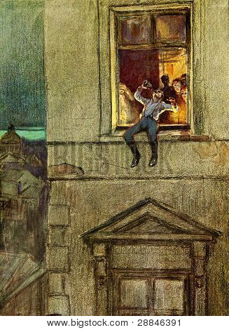 Drunken hussar sitting on the windowsill - illustration by artist A.P. Apsit from book