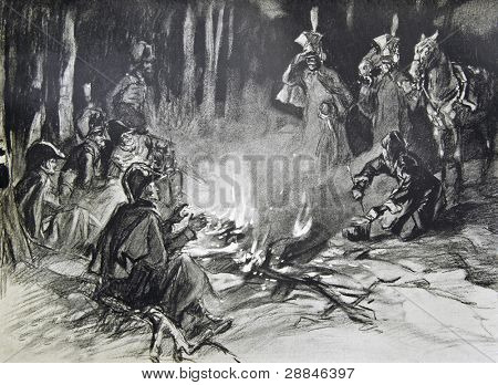 Guerrillas are heated by the fire - illustration by artist A.P. Apsit from book