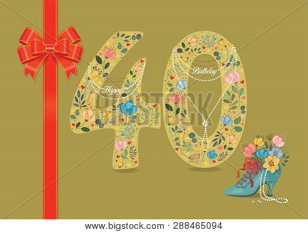 Yellow Number Forty With Folk Floral Decor. Pearl Collar With Texts As Pendants - Happy Birthday. Re