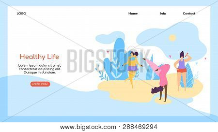 Healthy Life Horizontal Banner, Copy Space. Happy Body Positive Girls Enjoy Life On Beach. Young Wom