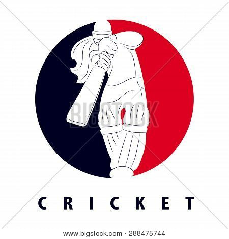 Batswoman Playing Cricket. Cricket Competition Logo. Abstract Poster For Womens Cricket. Vector Illu