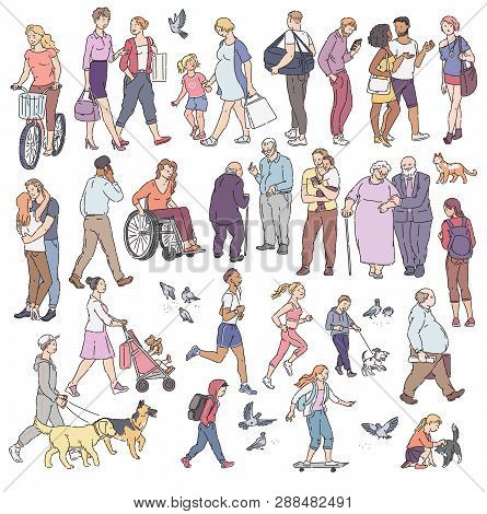 Vector walking urban crowd on street in city. Woman with kids people with dogs pigeons bicyclist and other characters line art. Children and adults in various situations. poster