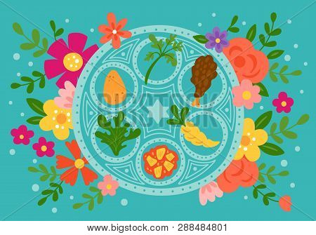 Passover Holiday Cute Traditional Seder Plate And Spring Flowers. Childish Print For Cards, Invitati