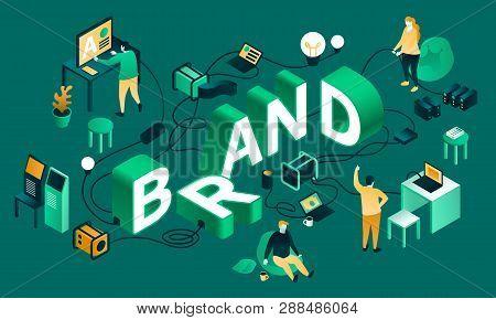 Green Brand Banner. Isometric Illustration Of Green Brand Banner For Web Design