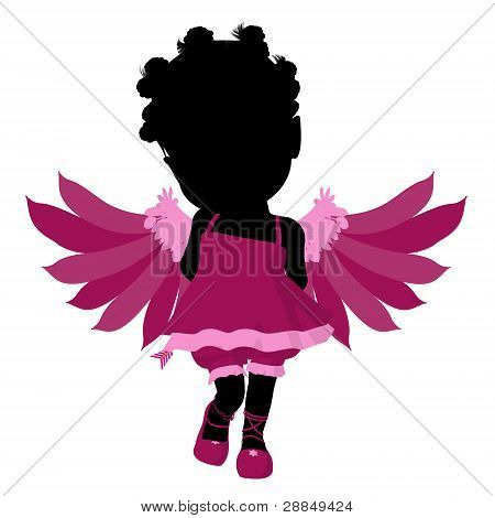 Little African American Cupid Girl Illustration Silhouette