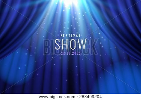Theater Blue Curtain With Lights As Show, Presentation Banner. Sign For Casino Or Bar, Movie Or Cine
