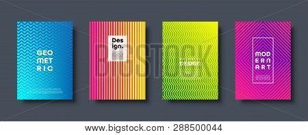 Modern Abstract Background With Geometric Shapes And Lines. Colorful Trendy Minimal A4 Template Cove