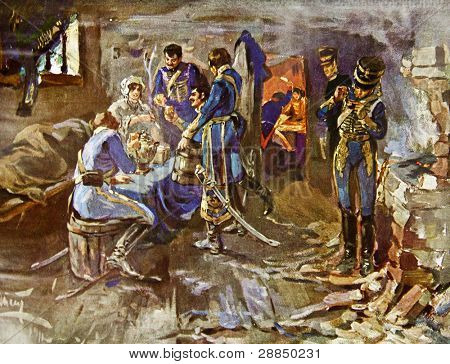 Hussars have dinner in the country house. Illustration by artist A.P. Apsit from book