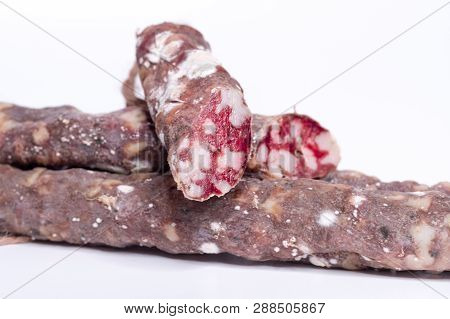 Meat Sausage With Lard. Suche-dried Sausage With Bacon.