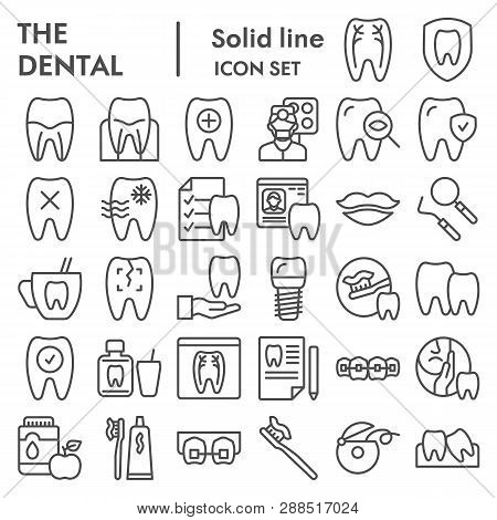Dental Line Icon Set, Dentistry Equipment Symbols Collection, Vector Sketches, Logo Illustrations, O