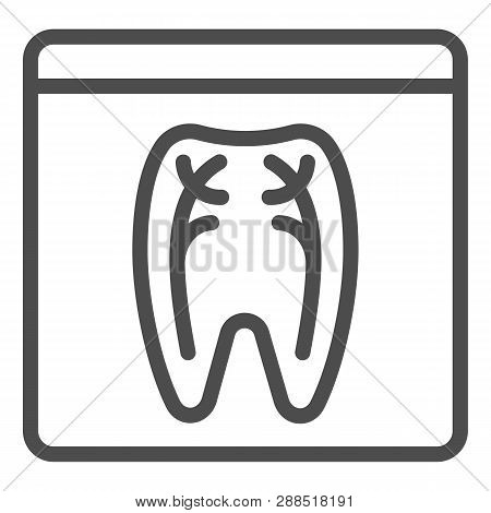 Dental Xray Line Icon. Tooth Xray Vector Illustration Isolated On White. Orthodontic Roentgen Outlin