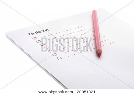 To do list with pencil isolated on white