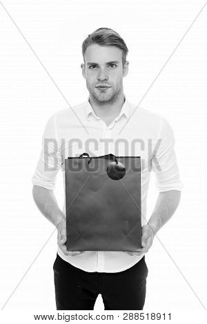 Shopping Online. Purchase Delivery. Businessman Use Shopping Application. Man Carries Shopping Bag W