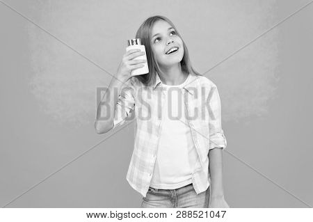 Add vitamin to your ration. Need vitamin supplements. Most important vitamins and minerals your kid need. Vitamin supplements concept. Girl long hair hold plastic bottle with medicines copy space. poster