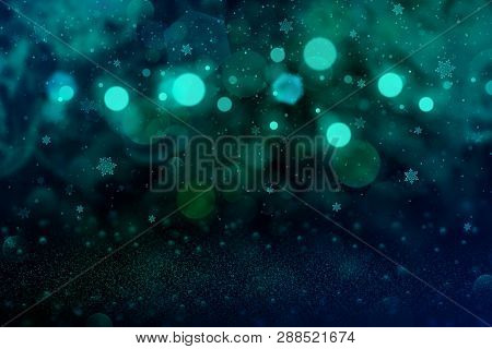 Pretty Shining Abstract Background Glitter Lights With Falling Snow Flakes Fly Defocused Bokeh - Fes