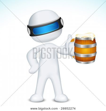 illustration of 3d man in vector fully scalable standing with beer mug
