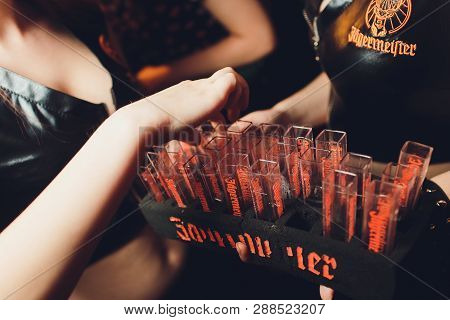 Ufa, Russia, Harats Pub, 5 November, 2018: Jagermeister Alcohol Drinks In Bar. Bartender Pours A Gla