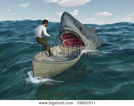 Shark attacks man in a boat