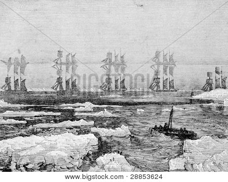 The fog on lake Ontario. Engraving on steel by Pene from picture by painter Murey. Published in magazine