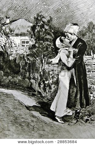 Cossack kissing his wife. Illustration by artist Zahar Pichugin from book