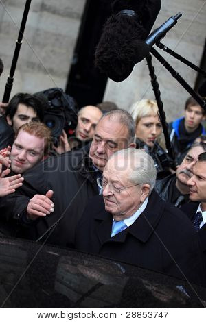 PARIS - JANUARY 8: Jean Marie Le Pen former president of the front national party gives a press conference in front of the grand hotel Regina in PARIS, France on January 8, 2012.